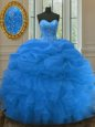 Sweetheart Sleeveless Organza Quinceanera Dress Beading and Ruffles and Pick Ups Lace Up