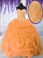 Attractive Ball Gowns Ball Gown Prom Dress Orange Sweetheart Organza Sleeveless Floor Length Lace Up