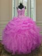 Admirable Straps Sleeveless Organza Quince Ball Gowns Beading and Ruffles Zipper