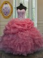 Smart Watermelon Red Ball Gowns Organza Sweetheart Sleeveless Beading and Pick Ups Floor Length Lace Up Quinceanera Gown