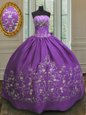 Spectacular Eggplant Purple Sleeveless Satin Lace Up 15 Quinceanera Dress for Military Ball and Sweet 16 and Quinceanera