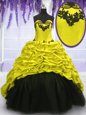 High-neck Sleeveless 15th Birthday Dress Floor Length Beading and Appliques Black Tulle