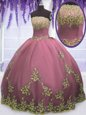 Four Piece Lavender Lace Up Vestidos de Quinceanera Embroidery and Ruffles Sleeveless Floor Length