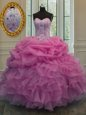 Lavender Lace Up Sweetheart Beading and Ruffles Quinceanera Gown Organza Sleeveless