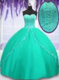 High End Turquoise Tulle Lace Up Sweetheart Sleeveless Floor Length Sweet 16 Quinceanera Dress Beading and Sequins