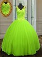 Affordable Straps Sleeveless Floor Length Beading Zipper Sweet 16 Quinceanera Dress