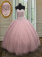 Best Selling Baby Pink Ball Gowns Organza Sweetheart Sleeveless Beading and Belt Floor Length Lace Up Sweet 16 Dress