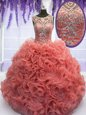 Scoop Sleeveless Beading and Ruffles Floor Length 15 Quinceanera Dress
