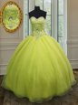 Edgy Yellow Green Lace Up Sweetheart Beading and Belt Quinceanera Gown Organza Sleeveless