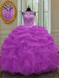 Four Piece Lilac Sleeveless Ruffles and Sequins Floor Length Sweet 16 Dress