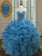 Affordable Turquoise Sleeveless Floor Length Appliques and Pick Ups Lace Up 15 Quinceanera Dress