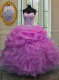Cheap Sweetheart Sleeveless 15 Quinceanera Dress Floor Length Beading and Ruffles Lavender Organza