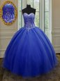 Fantastic Royal Blue Quince Ball Gowns Military Ball and Sweet 16 and Quinceanera and For with Beading and Belt Sweetheart Sleeveless Lace Up