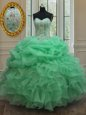 Dazzling Sleeveless Lace Up Floor Length Beading and Ruffles and Sequins Sweet 16 Quinceanera Dress