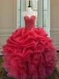 Coral Red Lace Up Quince Ball Gowns Beading and Ruffles Sleeveless Floor Length
