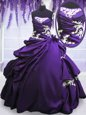 Flare Pick Ups Ball Gowns Ball Gown Prom Dress Purple Strapless Taffeta Sleeveless Floor Length Lace Up