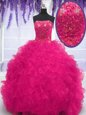 Fuchsia Organza Lace Up Strapless Sleeveless With Train Ball Gown Prom Dress Brush Train Beading and Ruffles