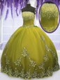Floor Length Olive Green Quinceanera Gown Tulle Sleeveless Appliques