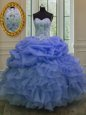 Affordable Blue Organza Lace Up Sweetheart Sleeveless Floor Length 15th Birthday Dress Beading and Pick Ups
