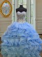 Romantic Royal Blue Sweetheart Neckline Beading and Ruffles 15 Quinceanera Dress Sleeveless Lace Up