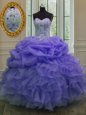 Charming Lavender Sleeveless Floor Length Beading and Ruffles and Pick Ups Lace Up Quince Ball Gowns