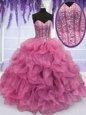 High End Rose Pink Sweetheart Neckline Beading and Ruffles Quinceanera Dresses Sleeveless Lace Up