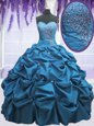 Teal Taffeta Lace Up Quinceanera Dress Sleeveless Floor Length Beading and Appliques and Pick Ups