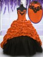 Sleeveless With Train Appliques and Pick Ups Lace Up Quinceanera Dress with Multi-color Sweep Train