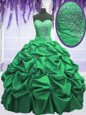 On Sale Pick Ups Floor Length Ball Gowns Sleeveless Green 15 Quinceanera Dress Lace Up