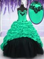 Most Popular Turquoise Ball Gowns Taffeta Sweetheart Sleeveless Appliques and Ruffles and Pick Ups With Train Lace Up Sweet 16 Dress Sweep Train