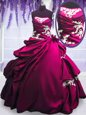 Fuchsia Sleeveless Embroidery and Pick Ups Floor Length 15 Quinceanera Dress