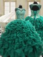 Exquisite Teal Ball Gowns Organza Scoop Sleeveless Beading and Ruffles Floor Length Lace Up 15th Birthday Dress
