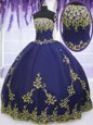 Sweet Sleeveless Tulle Floor Length Zipper Quinceanera Dresses in Navy Blue for with Appliques