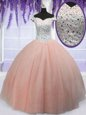 Off the Shoulder Peach Ball Gowns Beading 15th Birthday Dress Lace Up Tulle Short Sleeves Floor Length