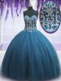 Beading and Appliques 15th Birthday Dress Teal Lace Up Sleeveless Floor Length