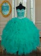 Turquoise Organza Lace Up Sweetheart Sleeveless Floor Length Quinceanera Gowns Beading and Ruffles