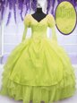Customized Yellow Green Lace Up V-neck Beading and Embroidery and Ruffles Quince Ball Gowns Organza Sleeveless