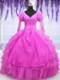 Long Sleeves Beading and Embroidery and Hand Made Flower Lace Up Quinceanera Dresses