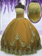 Brown Ball Gowns Tulle Strapless Sleeveless Appliques Floor Length Zipper Sweet 16 Quinceanera Dress