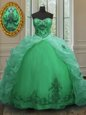 Cute Sleeveless Organza With Train Court Train Lace Up Ball Gown Prom Dress in Green for with Beading and Appliques and Pick Ups