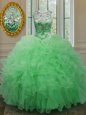 Hot Sale Scoop Sleeveless Floor Length Beading and Ruffles Lace Up 15th Birthday Dress with Green