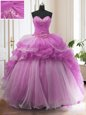 Organza and Taffeta Sleeveless With Train Sweet 16 Dresses Sweep Train and Beading and Appliques and Pick Ups