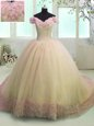 Sweetheart Sleeveless Quinceanera Gown With Train Sweep Train Beading and Ruffled Layers Rose Pink Organza