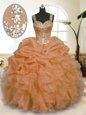 Cute Orange Organza Zipper Straps Sleeveless Floor Length 15th Birthday Dress Beading and Ruffles and Pick Ups
