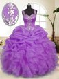 Beading and Ruffles and Pick Ups Sweet 16 Dress Lavender Zipper Sleeveless Floor Length