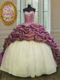 Sleeveless Beading and Appliques and Pick Ups Lace Up Quince Ball Gowns with White And Purple Sweep Train