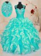 Fabulous Floor Length Turquoise Quinceanera Gown Sweetheart Sleeveless Lace Up