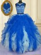 Colorful Scoop Blue And White Zipper Sweet 16 Quinceanera Dress Beading and Ruffles Sleeveless Floor Length