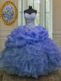 Suitable Blue Ball Gowns Sweetheart Sleeveless Organza Floor Length Lace Up Beading and Ruffles and Pick Ups 15 Quinceanera Dress