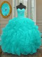 Fancy Aqua Blue Sweet 16 Dresses Military Ball and Sweet 16 and Quinceanera and For with Beading and Embroidery and Ruffles Sweetheart Sleeveless Lace Up